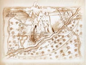 Чертеж Святогорского монастыря, сделанный арх. Иоилем в 1679 г.