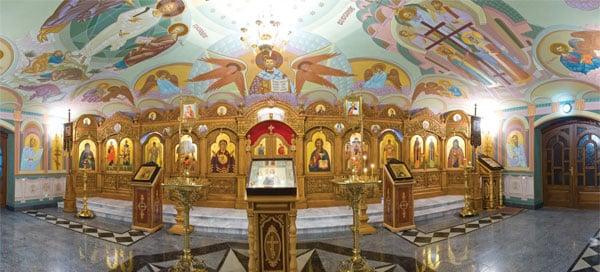 Панорама нижнего храма Преподобного Сергия Радонежского